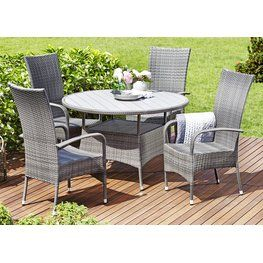 08af5ad01a3c Table STRIB D120cm + 4 chairs OSLO Garden Dining Set, Garden Table And  Chairs,
