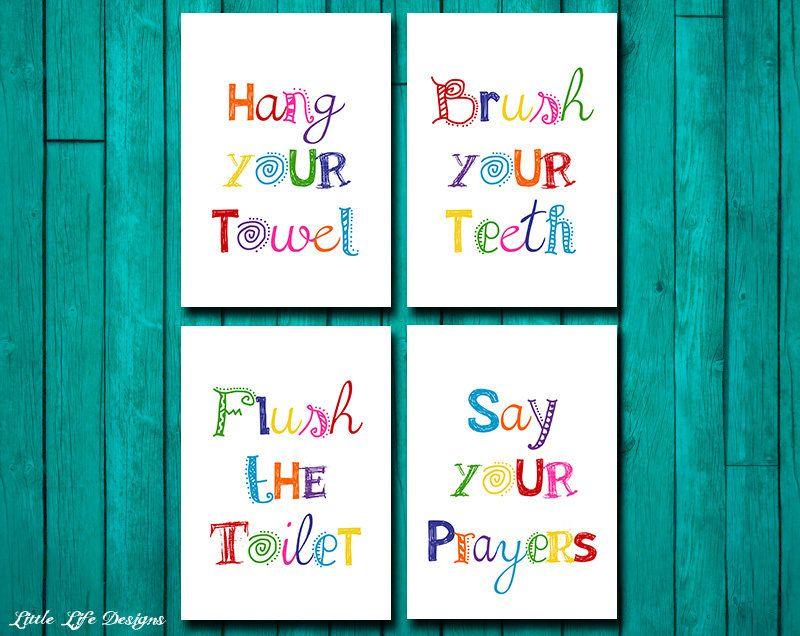 Bathroom Signs Brush Your Teeth bathroom wall art. brush your teeth. bathroom sign. hang your