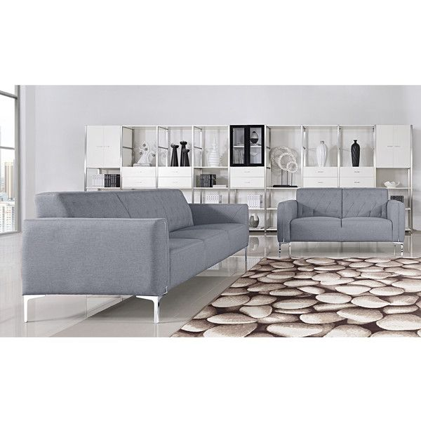 Villa 2-piece Fabric Upholstered Sofa and Loveseat Set