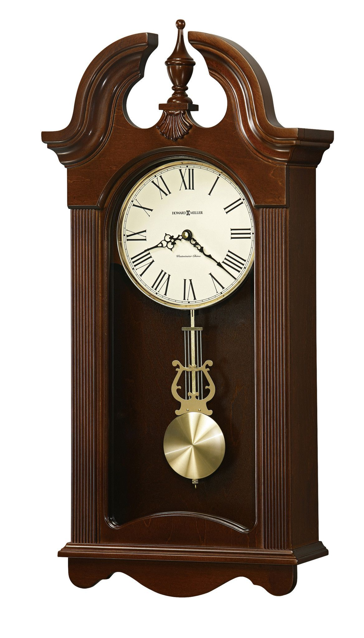 Finished In Cherry Bordeaux On Select Hardwoods And Veneers This Wall Clock Features A Swan Neck Pediment Pendulum Wall Clock Chiming Wall Clocks Wall Clock