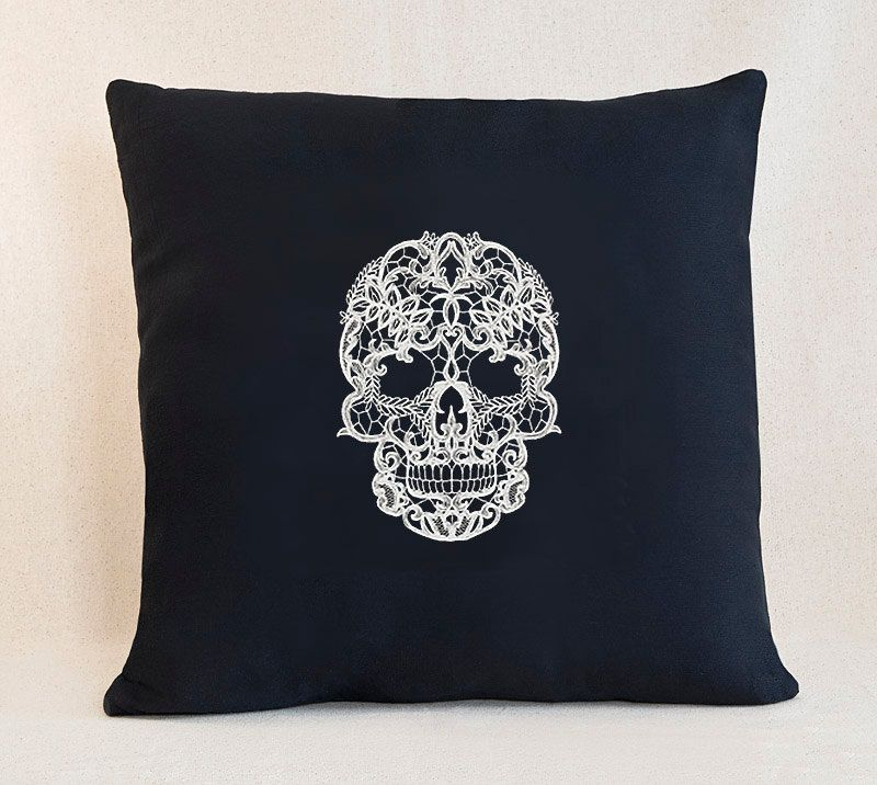 Lacey Skull Customizable Pillow Cover by SheBellaBirk on Etsy