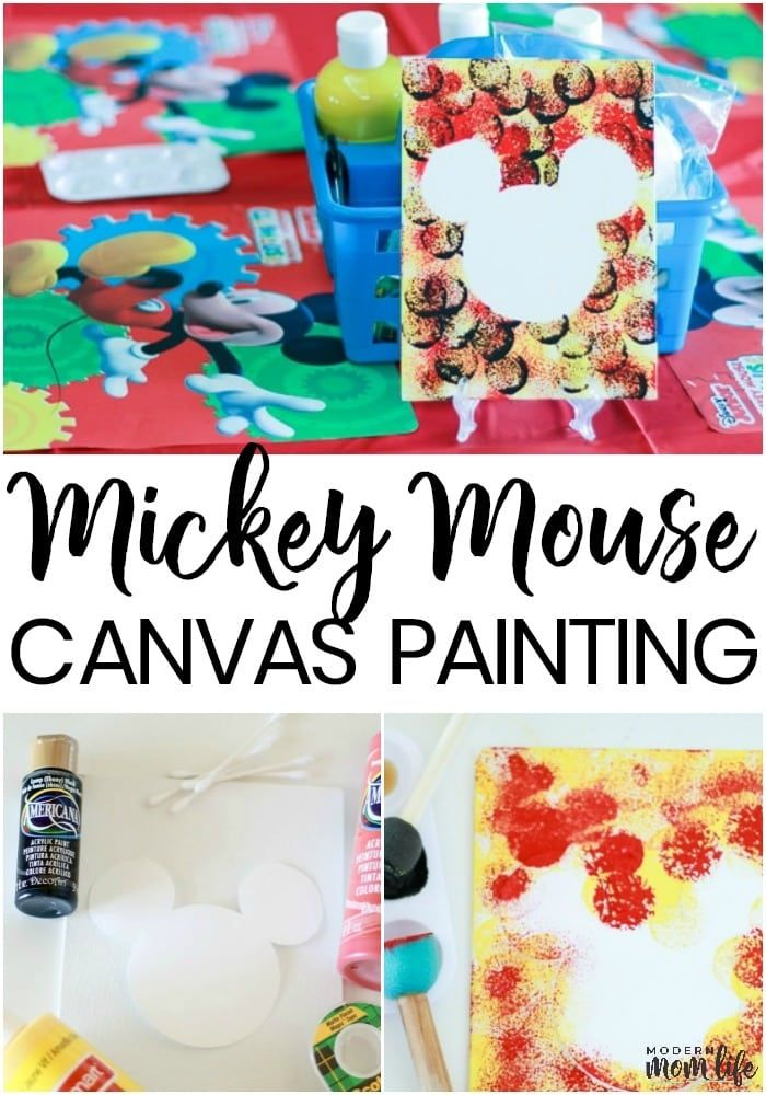 Hot Diggity Dog! A DIY Mickey Mouse Canvas Painting that is fun to make! is part of Kids Crafts Canvas How To Make - Make Your Own Mickey Mouse Canvas Painting following these easy steps  Makes the perfect arts and craft activity for your next Disney inspired party  DisneyKids