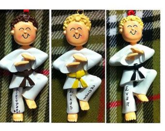 Personalized Male Karate Taekwondo Christmas Ornament - Karate ...