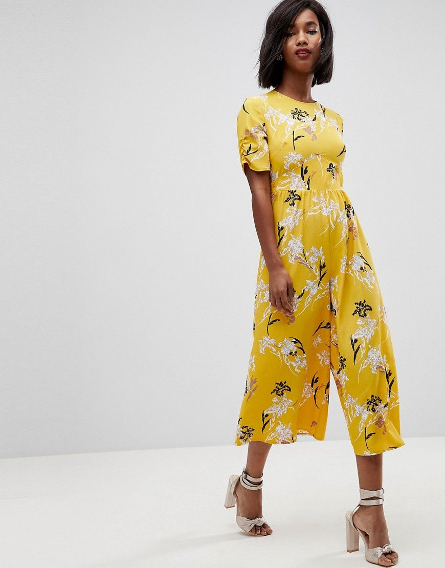 e11b6fc92531 1930s Wide Leg Pants and Beach Pajamas ASOS Tea Jumpsuit with Ruched Sleeve  in Floral Print - Yellow  64.00 AT vintagedancer.com