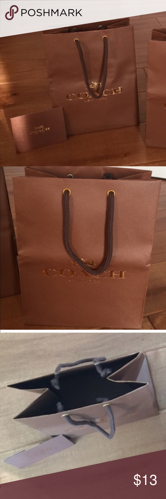 Authentic Coach shopping bag with envelope Bundle includes one shipping bag shown and an envelope. Coach Bags