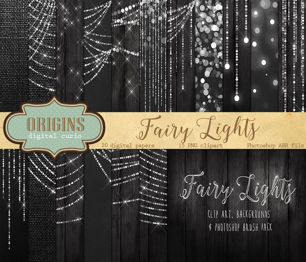 Fairy Lights Clipart Digital Paper Bokeh String Clip Art Wedding Photography Overlays Christmas Photoshop Brushes 690 USD By