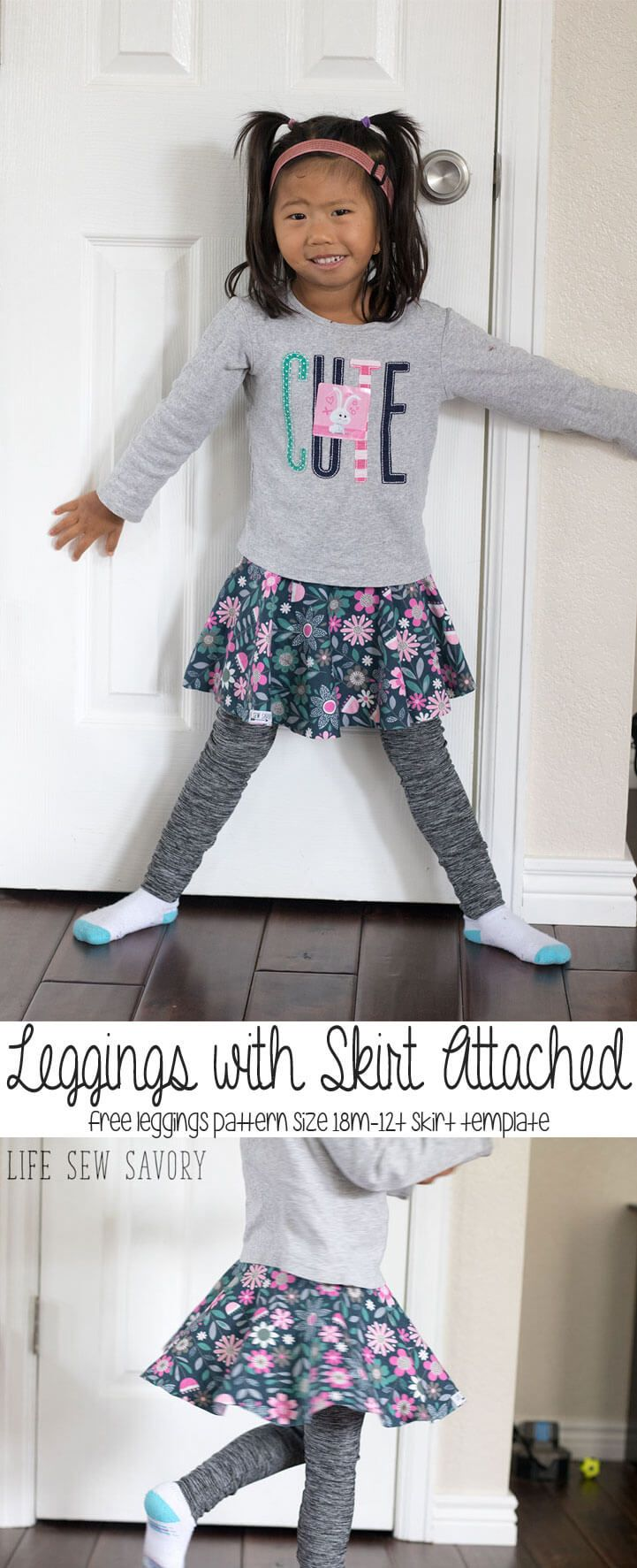 free leggings with skirt attached pattern and tutorial from Life Sew ...