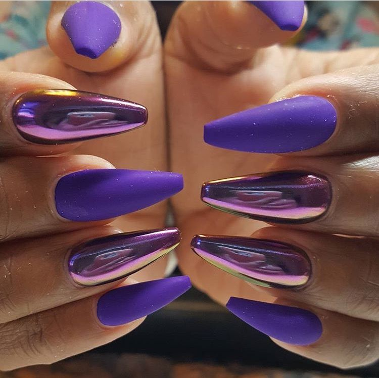 Chorme Nails, Hot Nails, Coffin Nails, Stiletto Nails, Beautiful Nail  Designs, Purple Chrome Nails, Acrylic Nails Chrome, Purple Acrylic Nails,  Nail Gel - Pin By Sierra Smith On Nails Pinterest