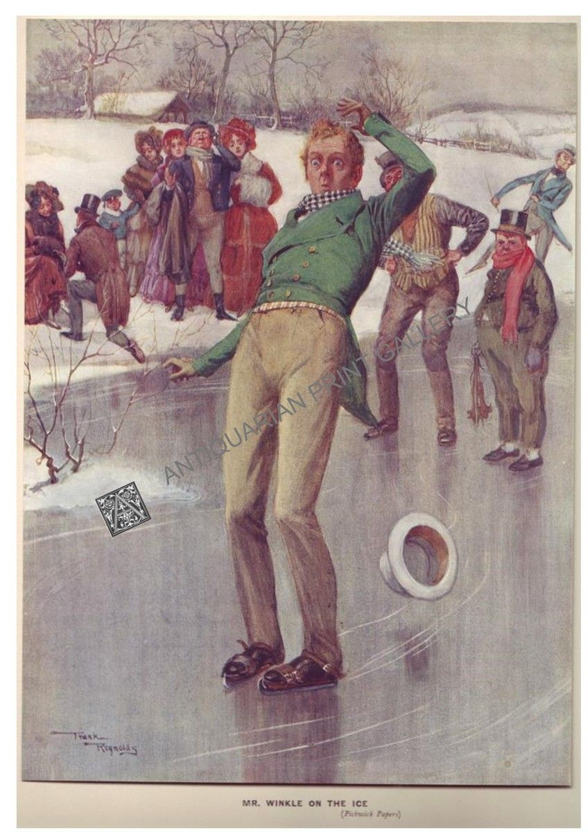 Illustrators Literature Dickens Winkle on Ice Pickwick Frank Reynolds - Antiquarian Print Gallery
