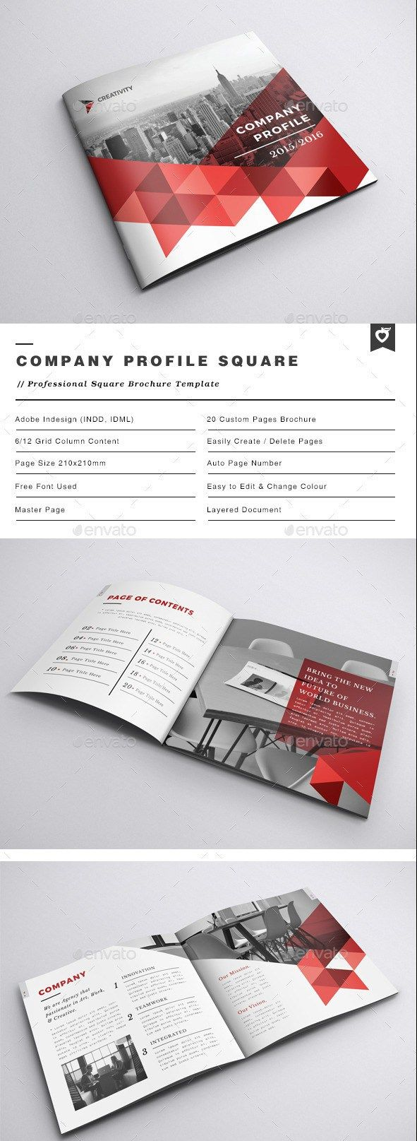Free Profile Templates Company Profile Square Brochure  Design  Pinterest  Company .