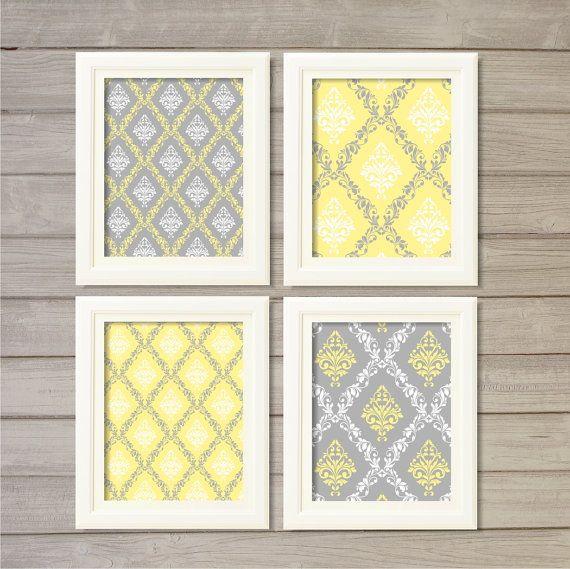 Damask Pattern Printable Wall Art Grey Yellow Set of 4 -8x10 ...