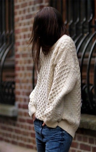 sweater knitwear comfy cute casual tumblr cream knitted sweater ...