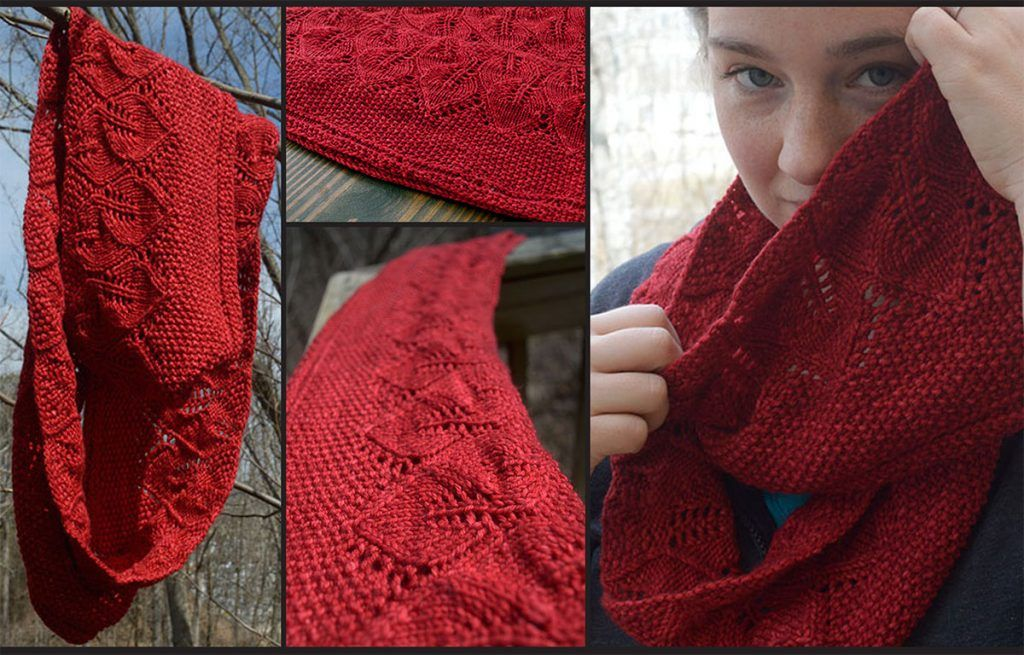 Knitting Scarf Patterns Infinity Scarf : Hannah leaf pattern infinity scarf free knit knitting