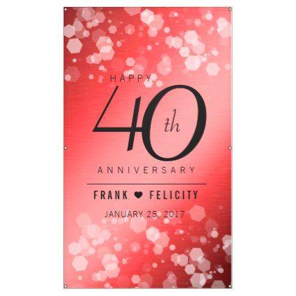 template elegant 40th ruby wedding anniversary banner template