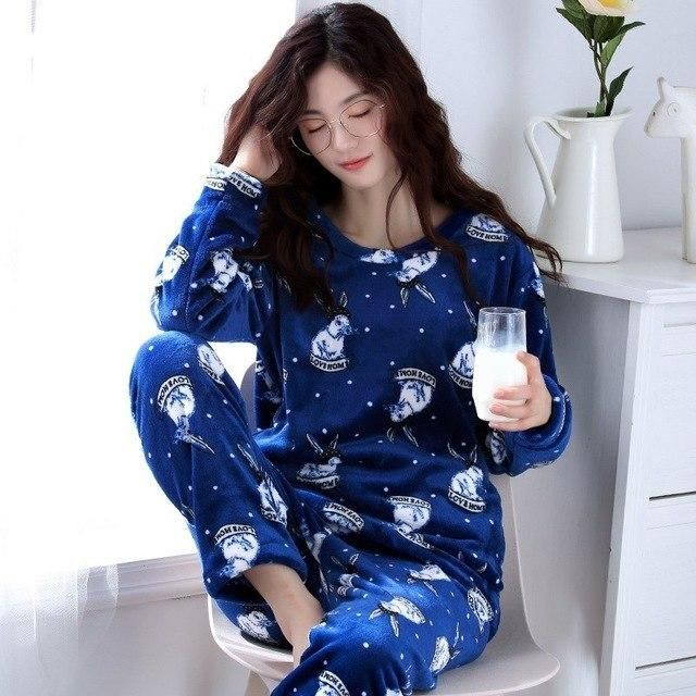 Winter Woman Pajama Sets Breathable Flannel Long-Sleeve Female Pyjamas  Sleepwear Plus Size M- f388556f9