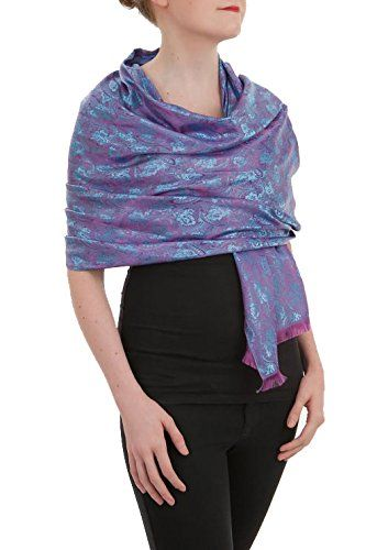 "Opulent Luxury Pashmina Scarf Shawl Wrap Reversible 100% Silk Soft Blue & Purple 72"" x 27"""