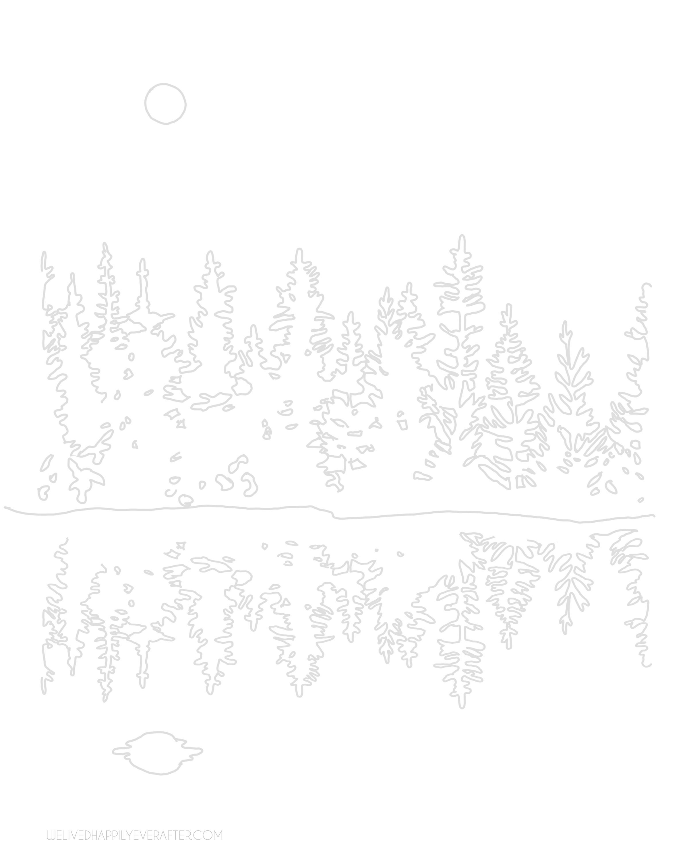Printable Watercolor Night Time Pine Tree Adult Coloring