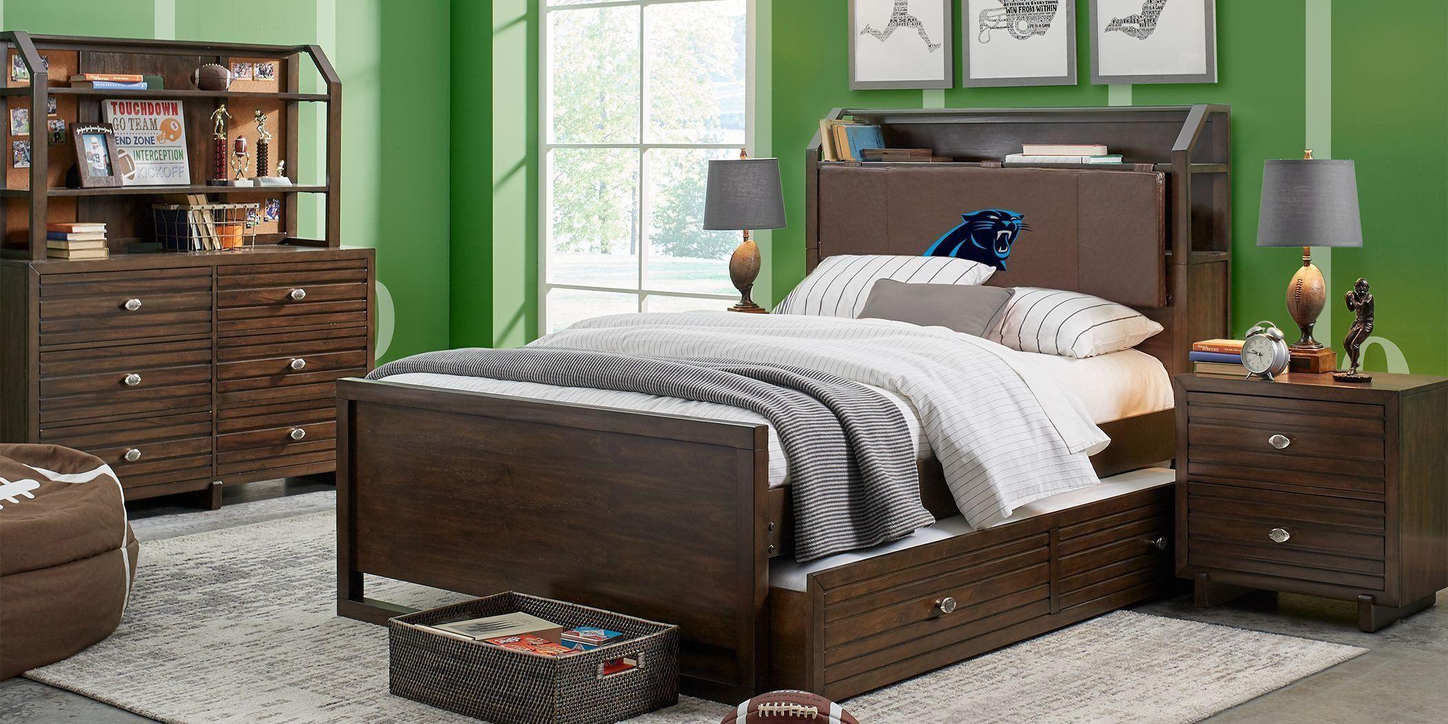Full Size Bedroom Furniture Set Sale New Nfl 1st Goal Carolina Panthers Brown 5 Pc Ful In 2020 Bedroom Sets For Sale Full Size Bedroom Furniture Complete Bedroom Set