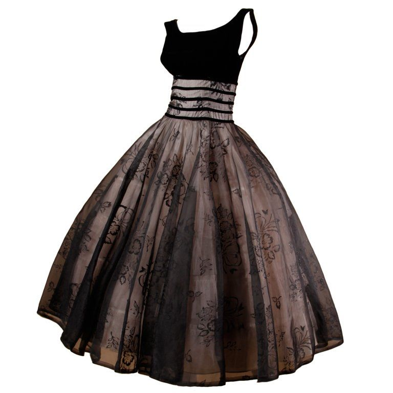 Vintage 1950's Black Organza Burn Out Velvet Party Dress | From a collection of rare vintage evening dresses and gowns at https://www.1stdibs.com/fashion/clothing/evening-dresses/