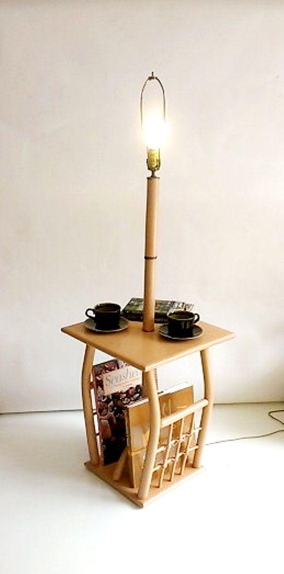 Table Floor Lamp Built In Magazine Rack Peach Wood Floor Lamp Rattan Ties Beach Decor Floor Lamp Table Floor And Table Lamps Wood Floor Lamp