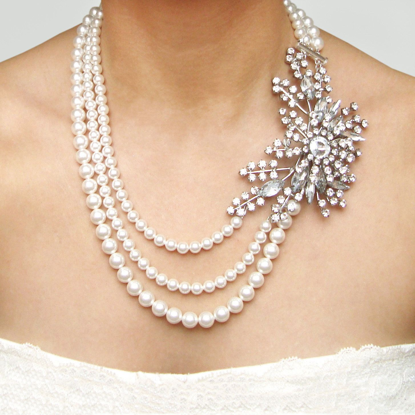Statement Bridal Necklace Rhinestone Pearl Wedding Vintage Jewelry Art Deco