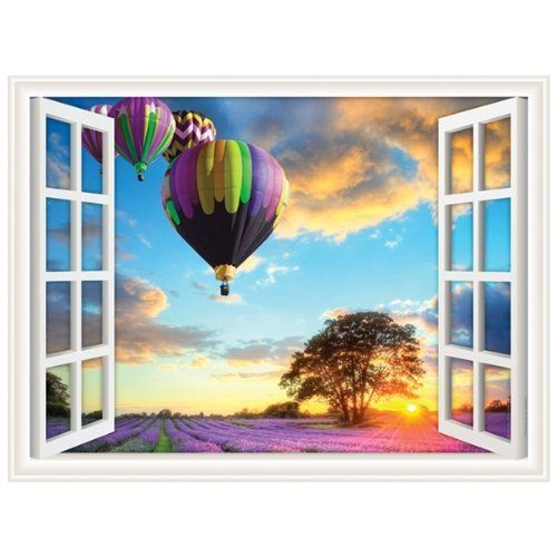 Walls 360 Window Views Premium Peel & Stick Removable Fabric Wall Decals: Hot Air Balloons (24 in x 18 in) Walls 360, Inc.