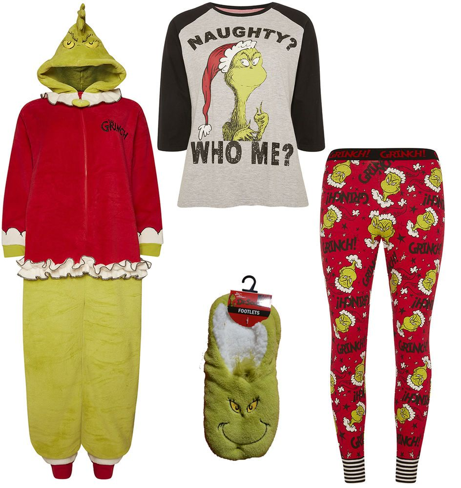 Ladies The Grinch T Shirt Leggings Dr Seuss Onesie Pyjamas Christmas
