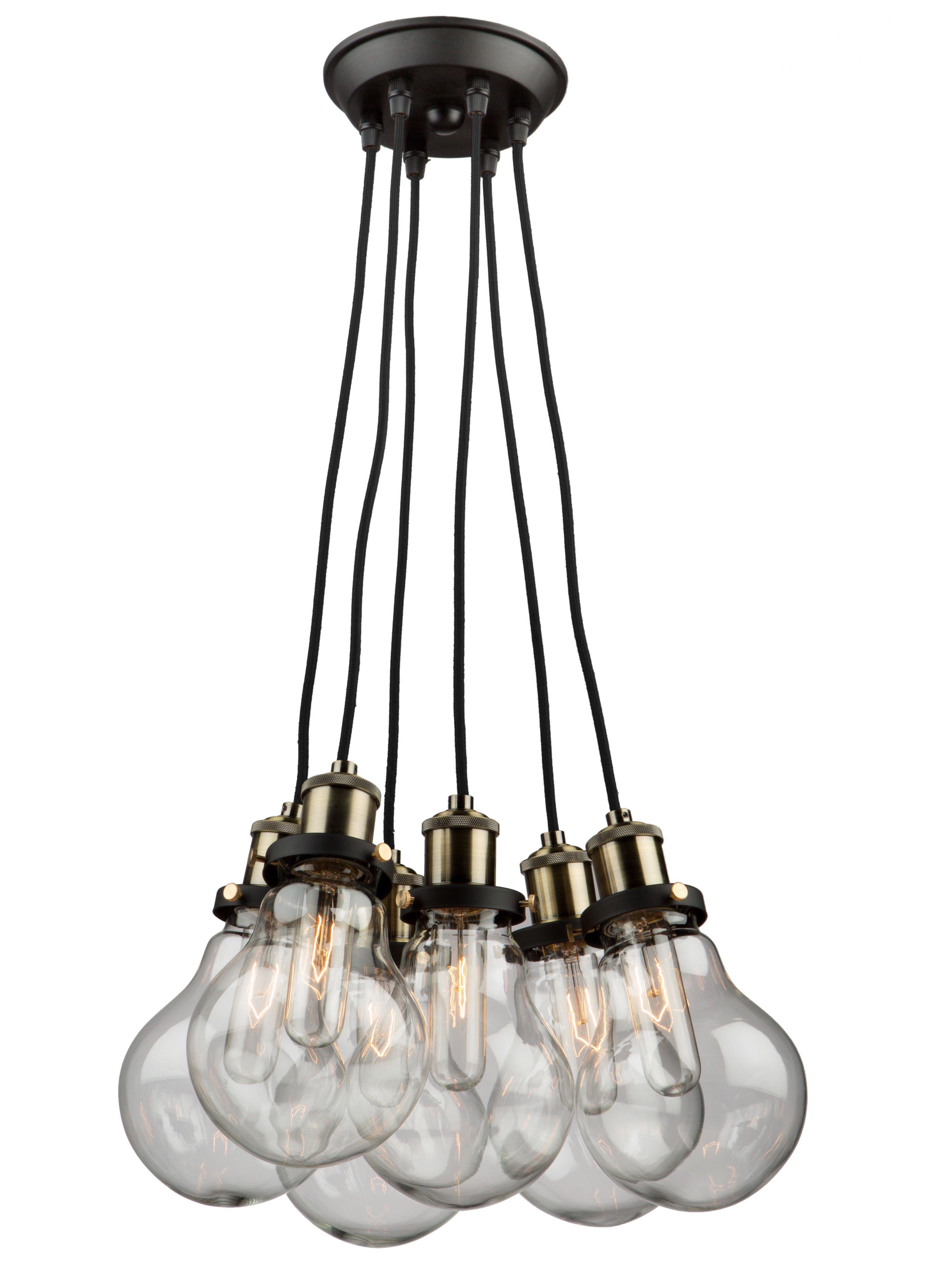 Rufina 5 Light Cluster Bulb Pendant Cluster Pendant Lighting Multi Light Pendant Clear Glass Pendant Light
