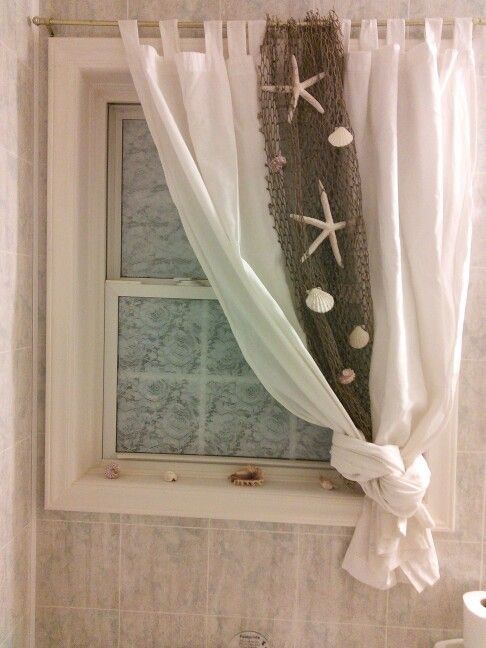 Beach Themed Curtain Idea For Bathroom