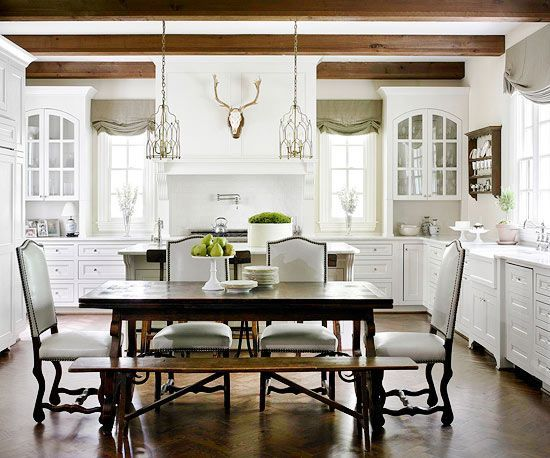 Refined Rustic Traditional White Cabinets Mix With Dark Ceiling Unique White Dining Room Cabinet Design Decoration