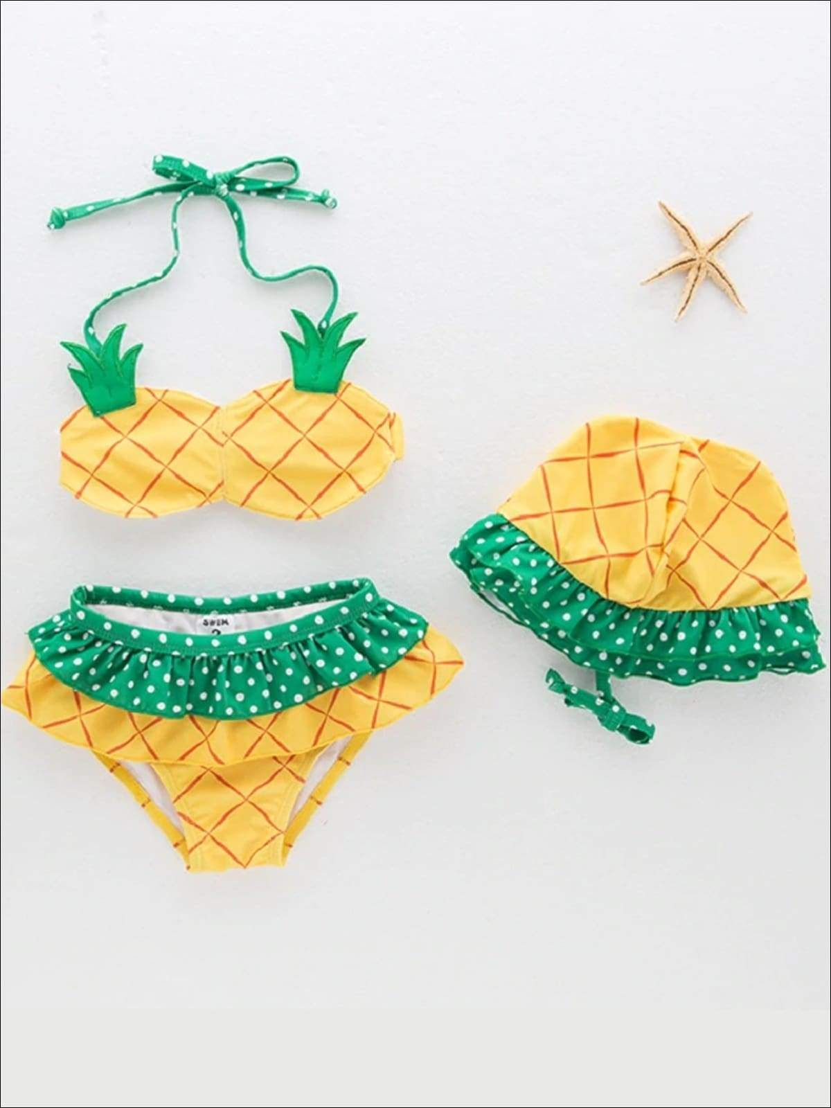 Girls Polka Dot Print Pineapple Two Piece Swimsuit With Matching Hat