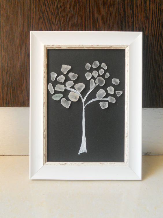 Tree made of sea glass. Framed wall art from the Gozo island, made ...