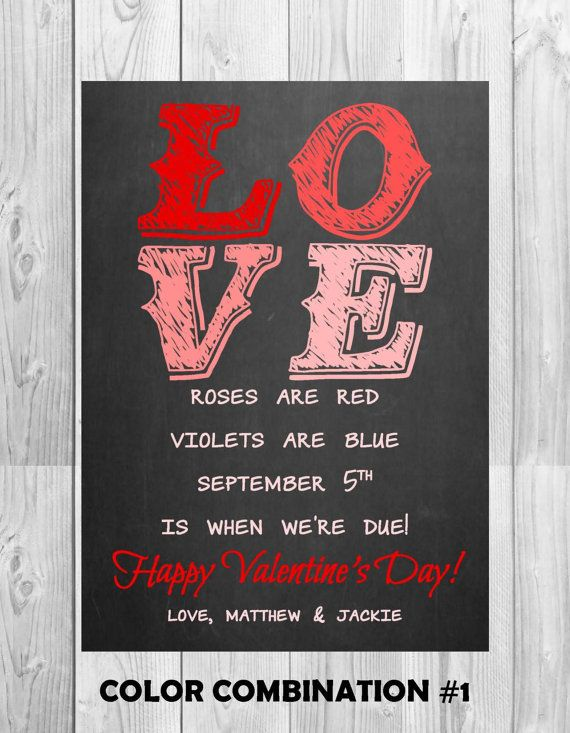 Chalkboard Pregnancy Announcement Card by MMasonDesigns on Etsy – Baby Announcement Cards Etsy
