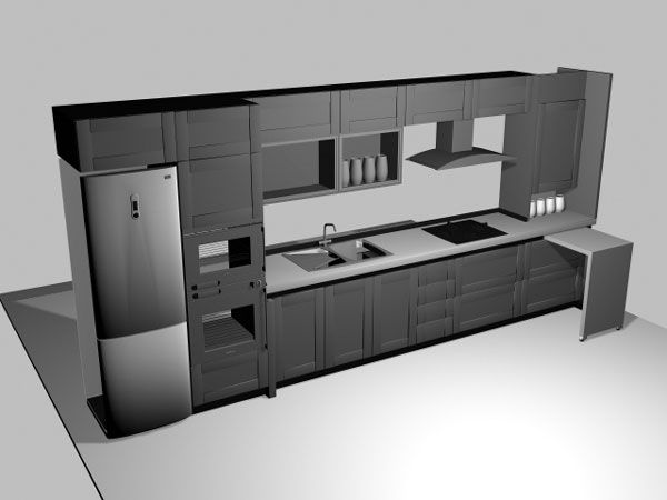 kitchen design 3d model. Ikea type kitchen cabinets  3ds 3D Studio Max Dise os