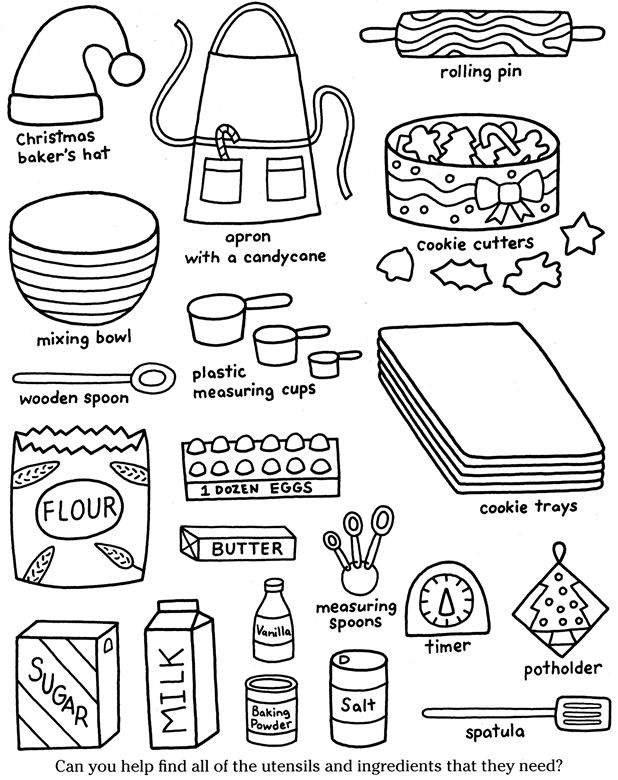 Color Cook Christmas Cookies Dover Publications Coloring Pages