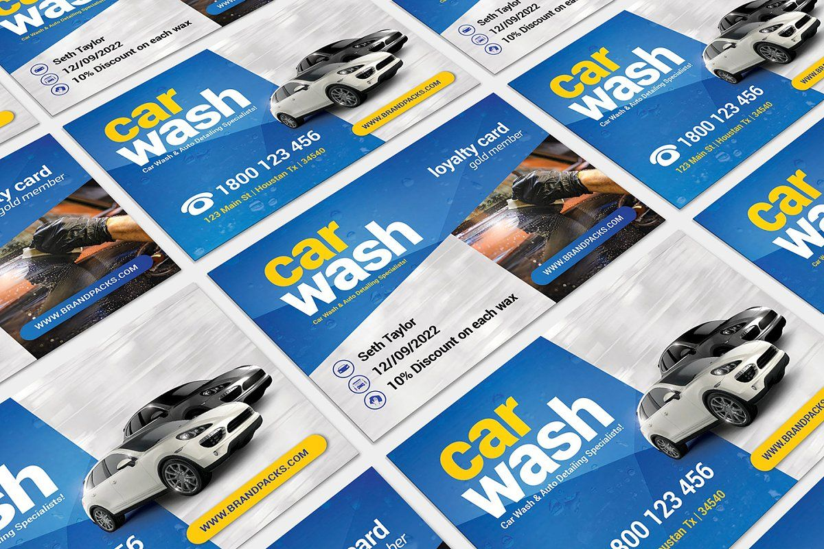 Ad Car Wash Business Card Template by BrandPacks on