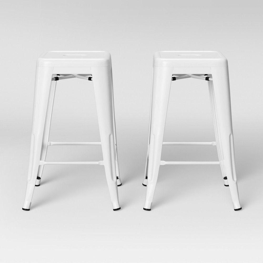 Swell Set Of 2 Carlisle Backless Counter Stool Matte White Creativecarmelina Interior Chair Design Creativecarmelinacom