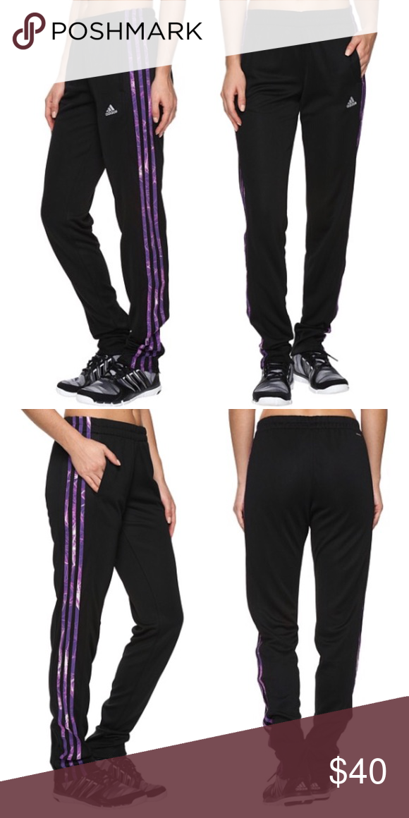 NWT adidas supernova pants Brand new with tags.  Adidas black pants with purple stripes down the sides.    ❌No trades ✅Offers through the offer button Adidas Pants