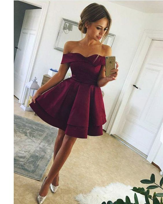 b8d20462ad34 Off the Shoulder Short Prom Dresses Short Homecoming Dresses, by RosyProm,  $104.49 USD