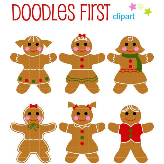 This Clip Art Set Includes The Following 6 X Gingerbread Men Each Clipart Illustration Is