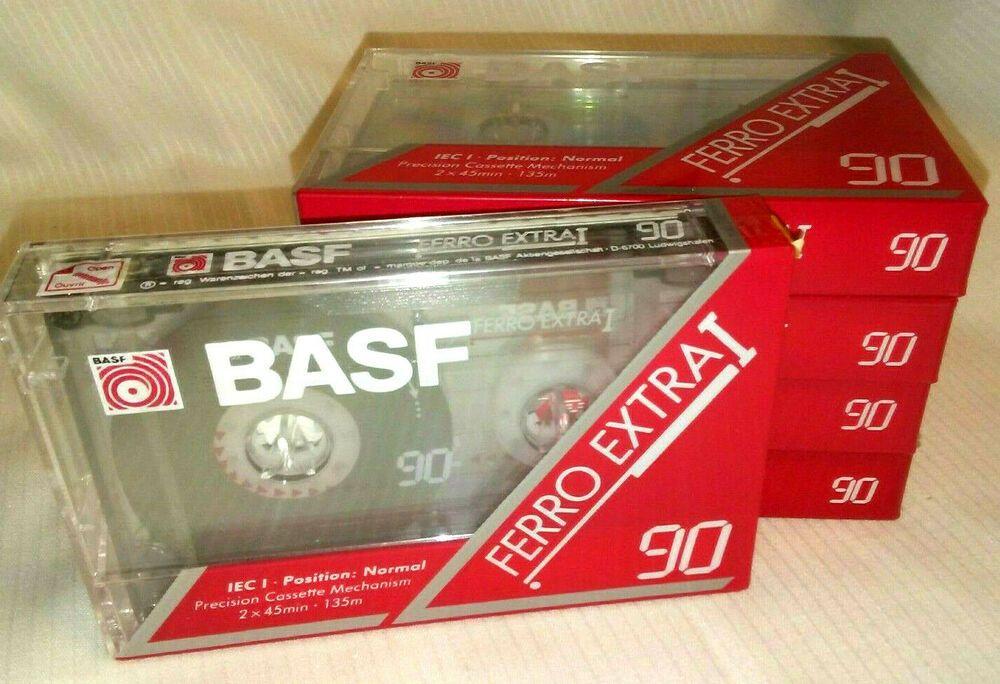 Basf ferro extra i 90 minute blank cassette tapes lot of 5