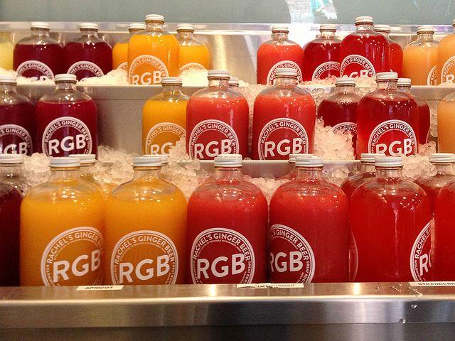 Rachel's Ginger Beer in various fruit flavors, is served fresh on tap ...