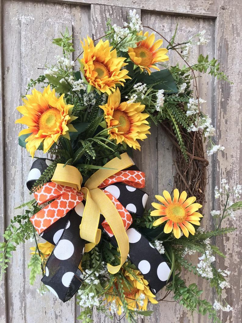 Photo of Sunflower Wreath, Sunflower Door wreath, Spring summer wreath, summer Wreaths for front door, Sunflower Decor,  Keleas, Keleas wreaths