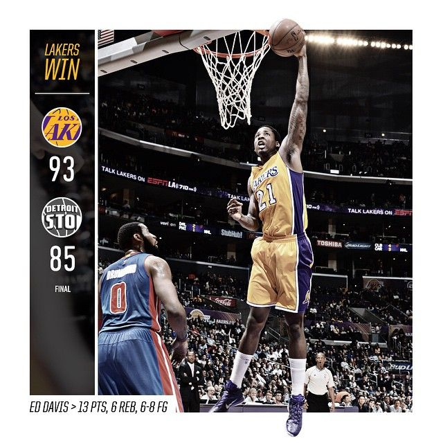 """""""#LakersWin a close one against Detroit, 93-85. Davis finished with 13 pts to go along with 6 boards in only 18 minutes. #GoLakers"""""""