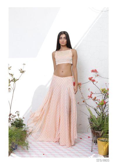 light lehenga, crop top lehenga, sleeveless blouse , printed lehenga skirt,
