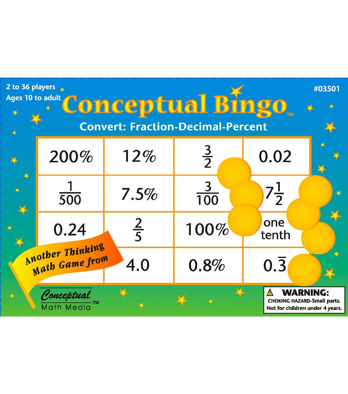 Conceptual Math Bingo Convert Fraction Decimal Percent