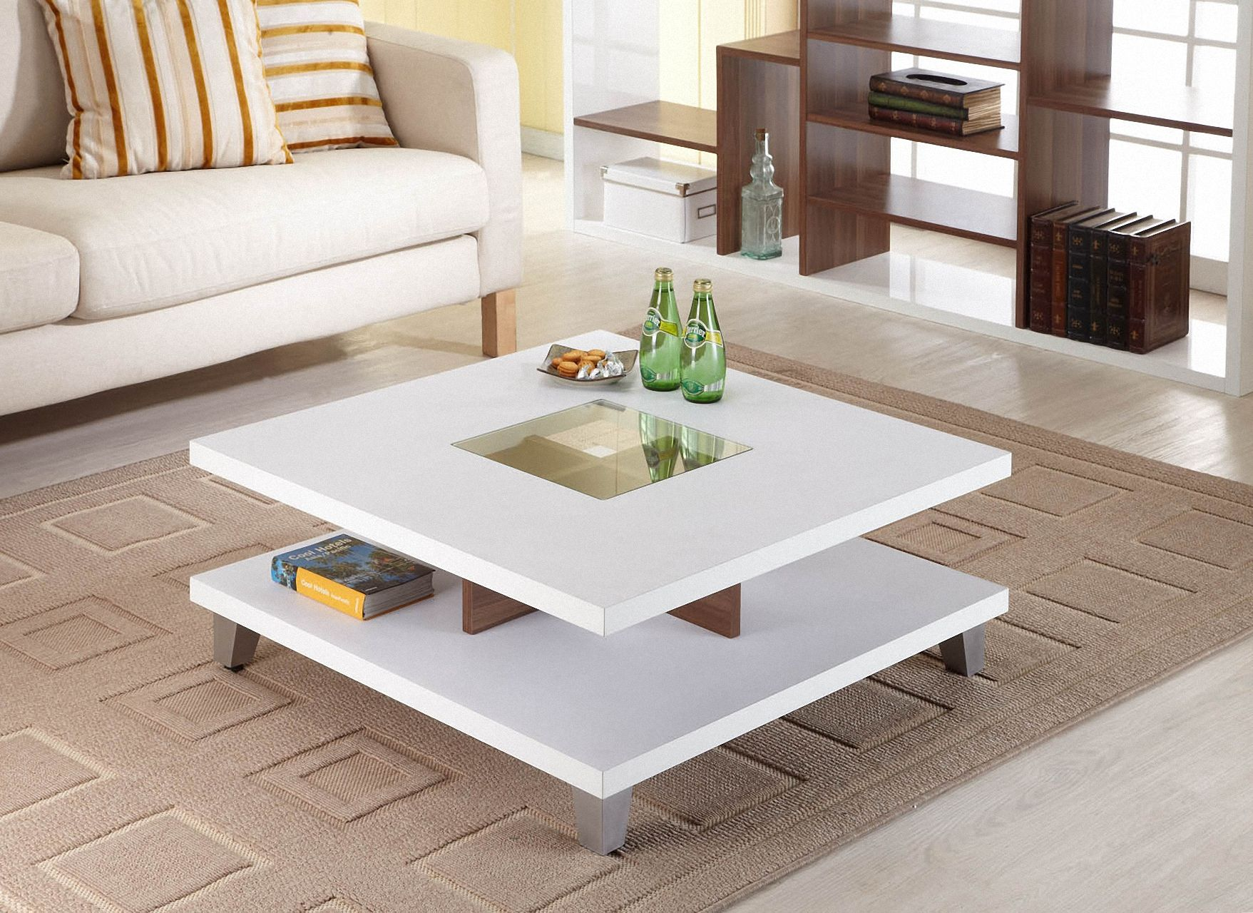 Furniture Of America Trenca White And Walnut Coffee Table Square Coffee Tables Living Room Coffee Table Square Coffee Table [ 1280 x 1757 Pixel ]