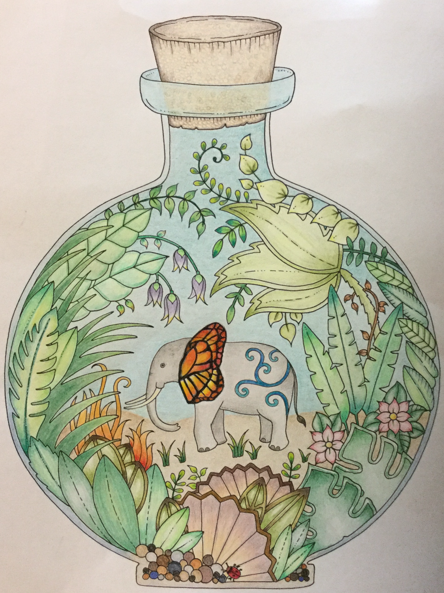 Elephant From Johanna Basfords Magical Jungle Coloring Book Finished 9 3