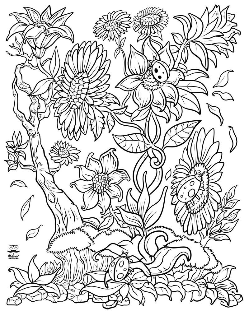 Ladybugs In The Flowers Coloring Page in 2020 | Flower coloring pages,  Abstract coloring pages, Adult coloring flowers