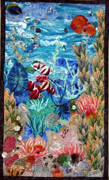 Fabric collage wall hanging beautiful textile art for Fishing themed fabric